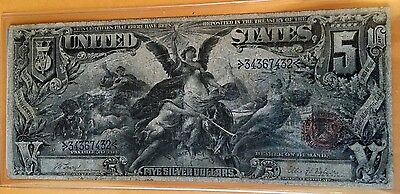 Educational Us $5 Silver Certificate 1896 Currency F-Vf Large