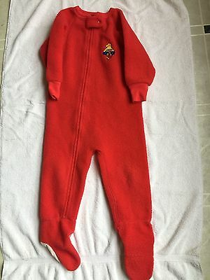 EDEN TOYS PADDINGTON BEAR boy 3T Red footie pj blanket sleeper football VTG USA