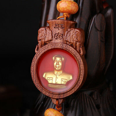Chinese Chairman Mao Zedong Sculpture Wood Carving Gold Plating Car Pendant
