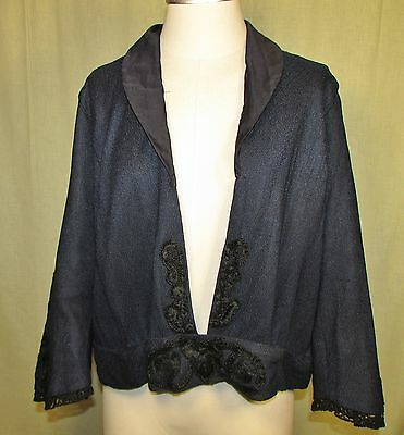 1920 Navy Blue Knit Rayon Jacket, Outstanding Embroidery
