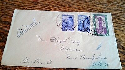 1953 India Air Mail Stamps on Cover Sent to New Hampshire from Delhi, India