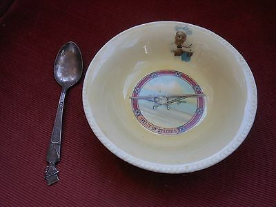 "1930s CREAM of WHEAT ""Spirit of St. Lewis"" 6"" bowl  w/ C. McCarthy silver spoon"