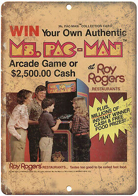"""Pac-Man Arcade Game Roy Rogers 10"""" x 7"""" Retro Look Metal Sign"""