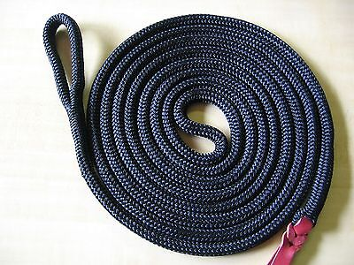 "12' x 9/16"" BLACK DB Polyester Yacht Horse Lead Rope, w Spliced Loop, Tail USA"