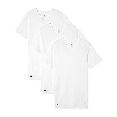 New Mens Lacoste Essentials 3 Pack V-Neck T-Shirts Cotton Classic Fit  42.50 4e3e7d09e9c8