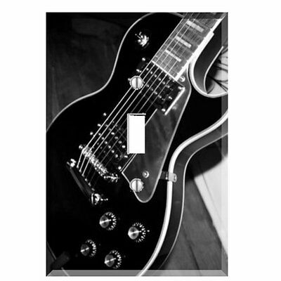 Electric Guitar Black White  Light Switch Plate Wall Cover Music Decor