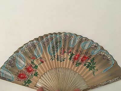 Antique Vintage Chinese Export Hand Held Fan Advertising Chase & Sunborn's Teas