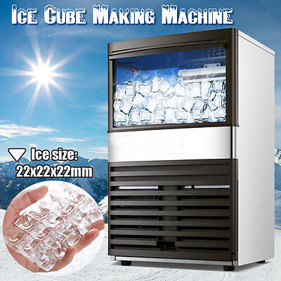 110Lbs 55kg/24h Commercial Auto Ice Maker Bar Tea Ice Cube Making Machine 220V