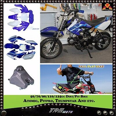 For CRF50 FENDER PLASTICS & STICKERS & FUEL TANK + BLK SEAT Atomik Thumpstar