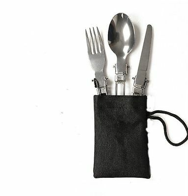 Outdoor Camping Tableware Stainless Steel Folding Fork Knife Spoon Sets Picnic