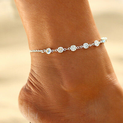 Women Foot Jewelry SexyCrystal Ankle Bracelet Beach Chain Foot Anklet Adjustable