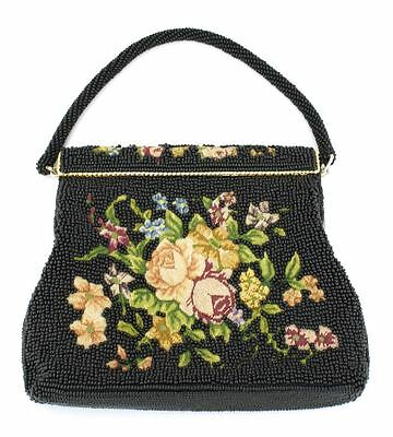 Vintage beaded embroidered handbag evening bag petit point 1950s