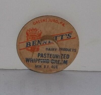 Bennett's Dairy Products Greensburg PA. Milk Cap Pasteurized Whipping Cream