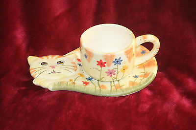 Yellow Cat cup and Snack plate set
