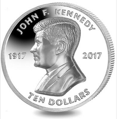 2017 BVI John F. Kennedy Ultra High Relief Piedfort 2 oz Silver Proof Coin JFK