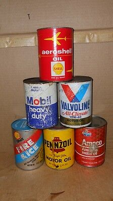 Lot Of 6 Different Vintage Quart Oil Cans Pennzoil,Mobil , Shell,  Ect.