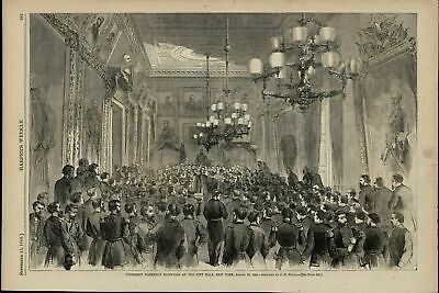 President Johnson's Reception City Hall NY nice 1866 great old print for display
