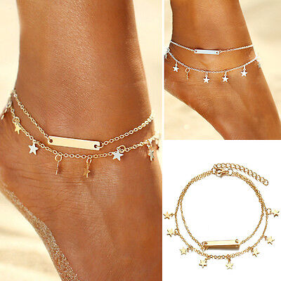 Women Gold & Silver Plated Star Double Chain Anklet Bracelet Beach Foot Jewelry