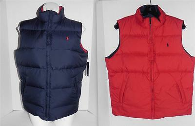Polo Ralph Lauren Blue Red Pony Logo Puffy Reversible Vest L (16-18)