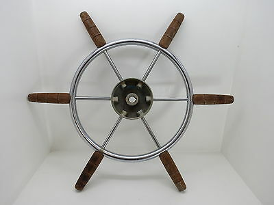 AUTHENTIC 22 inch STAINLESS STEEL WOOD BOAT SHIPS WHEEL SAILBOAT DECOR (#2496)
