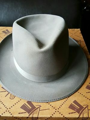 VINTAGE MENS GREY FEDORA 6 7/8 WITH BOX MADE BY Stephen L Stetson NY 1933