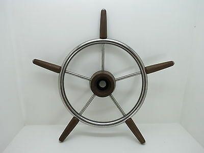 AUTHENTIC 18 inch STAINLESS STEEL & PLASTIC BOAT SHIPS WHEEL SAIL DECOR (#2497)