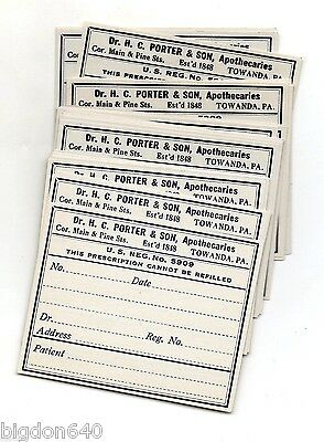 25 MID to LATE 1800's MEDICINE BOTTLE  LABELS of DR H C PORTER & SON TOWANDA PA