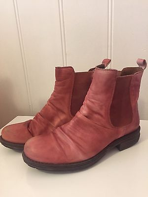 Ladies Wittner Red Maroon Leather Ankle Boots Zillow Size 36