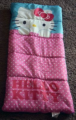 "Pink Hello Kitty Polka Dot & Blue 2 lb Sleeping Bag - 28"" x 56"" Reversible - NIB"