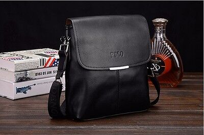 Shoulder Crossbody Bag Men Leather Briefcase Messenger Bags Men's Black