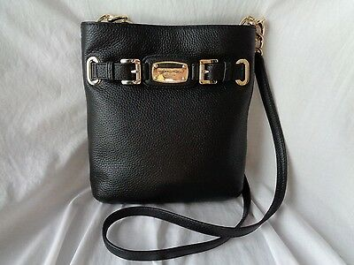 Michael Kors Hamilton Large Crossbody Black Leather Handbag Shoulder Bag Purse