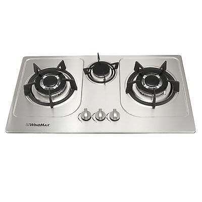 72cm 3 Burner Gas Cooktop Stainless Steel NG - LPG Conversion Kit Cook Top Stove