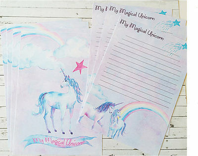 Rainbow & Unicorn Letter writing set Memo Pad,Unicorn Stickers,Cute Card Notelet
