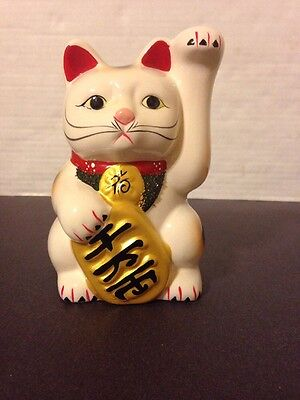 Lot Of 6 Japanese Beckoning Fortune Money Lucky Cat Ceramic Figurine 6 3/4""""