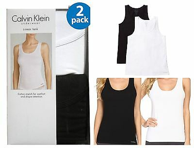 New Womens Large Calvin Klein 2 Pack Sleeveless Tank Top Camisole Black & White