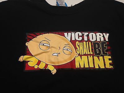 """Men's Size Large Family Guy Stewie """"Victory Shall Be Mine"""" Perfect Shirt Black"""
