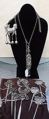 Group China & Tibet Silver Jewelry Hairpins & 2 Necklaces