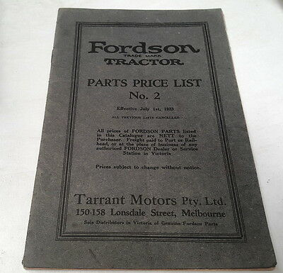 1923  FORDSON TRACTOR Australian Parts Price List  VERY RARE