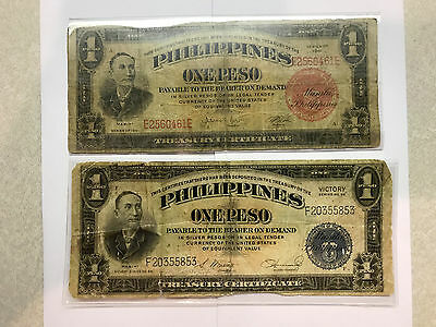 Philippines 1 Peso Pre-Invasion/Victory Notes Pair Circ. #3771