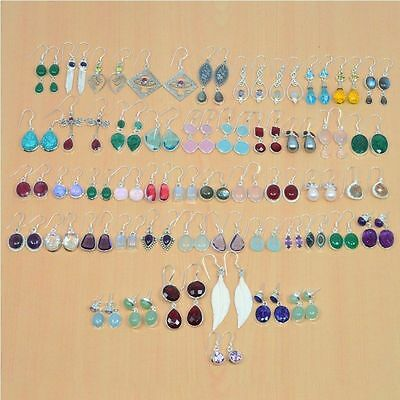 Wholesale 50Pair 925 Solid Sterling Silver Natural Garnet Mix Stone Earring Lot