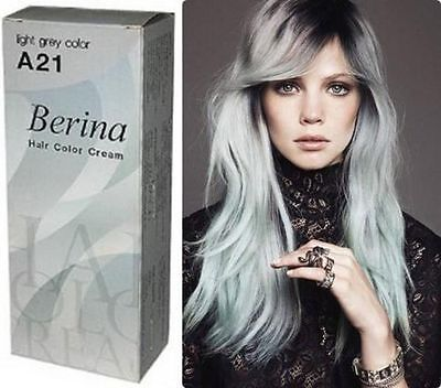 Berina A21 Permanent Color Hair Dye Cream Light Grey Color