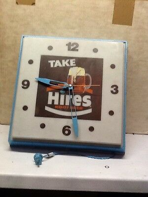 Reconditioned Rare Hires Rootbeer Lighted Clock Sign Advertisment Not Original
