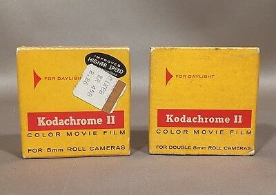 Vintage Kodachrome II Color Movie Film Double 8mm Roll NOS Expired - Lot of 2
