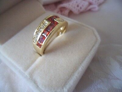 Vintage Jewellery Gold Dress Ring Ruby Red Sapphire White Stones Antique Jewelry