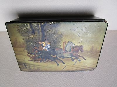"Antique Russian Lacquer Box ""Troika"" Vishnyakov XIXc."