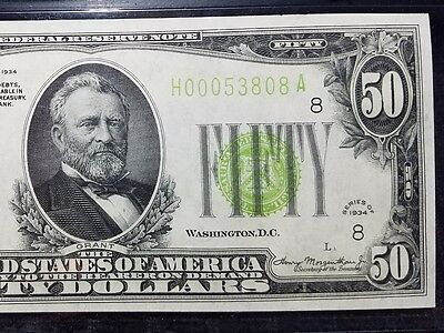 Fr 2102-h 1934 $50 LGS Lime Seal Federal Reserve Note UNC 64 EPQ