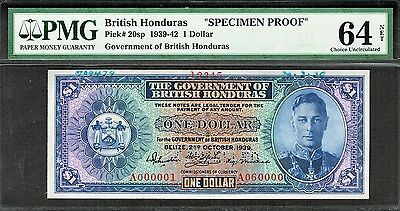 BRITISH HONDURAS 1939 1 DOLLAR SPECIMEN PROOF P-20sp CHOICE UNC PMG 64