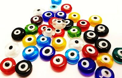 Millefiori Glass Round Evil Eye Droplets - Mixed x 35pc