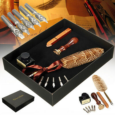 Retro Owl Feather Metal Nibs Quill Dip Pen + Ink +5 Tips  Stationery Luxury Gift