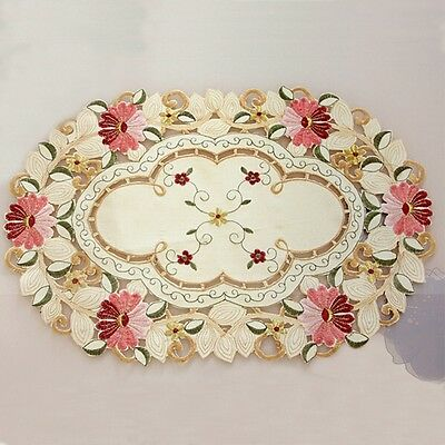 Vintage Embroidered Flower Tablecloth Hollow Placemat Table Cover Home Decor